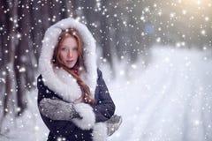 Fille de conte de fées dans le manteau de peau de mouton dans la forêt magique Image stock