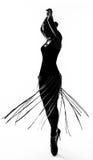 Fille de danse à la mode de silhouette photographie stock libre de droits