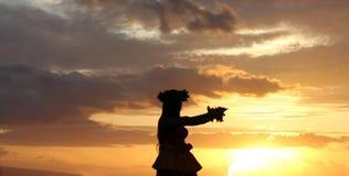 Fille de danse polynésienne Photos stock