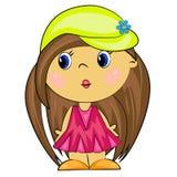 Fille de dessin animé. gosse de brunette Image stock