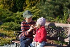 Fille de deux ans avec son frère dans le jardin photo stock