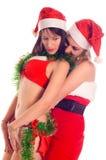 Fille de deux Santa photos libres de droits