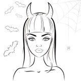Fille de diable de Halloween avec des klaxons Vecteur d'ensemble illustration stock
