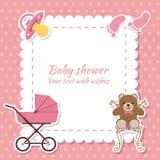 Fille de fête de naissance, carte d'invitation Place pour le texte Voiture de salutation Images libres de droits