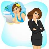 Fille de femme d'affaires désirant ardemment pour travailler à distance illustration stock