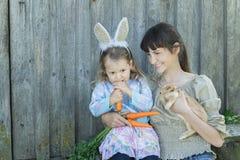 Fille de femme et d'élève du cours préparatoire avec le lapin et les carottes mignons de Pâques dans des bras Photos stock