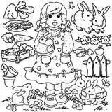 Fille de ferme de livre de coloriage, de bande dessinée et animaux illustration de vecteur