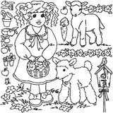 Fille de ferme de livre de coloriage, de bande dessinée et animaux illustration libre de droits