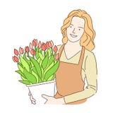 Fille de fleuriste avec un pot de belles tulipes de fleurs illustration stock