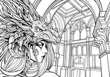 Fille de Goth dans le masque de dragon illustration de vecteur