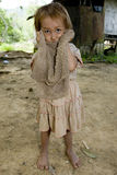 Fille de Hmong avec un tissu modifié, Laos Images stock