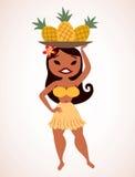 Fille de hula d'ananas Images libres de droits