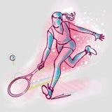 Fille de joueur de tennis sur des graphiques fond, image de vecteur illustration libre de droits