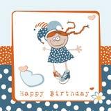 Fille de joyeux anniversaire illustration stock