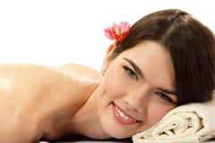 Fille de l'adolescence attirante de miel de massage Image libre de droits