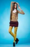 Fille de l'adolescence avec de longs cheveux droits Image libre de droits