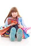 Fille de l'adolescence avec des sacs photographie stock