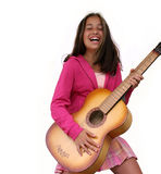 Fille de l'adolescence avec la guitare Image libre de droits