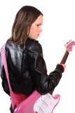 Fille de l'adolescence avec la guitare Images libres de droits