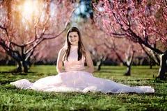 Fille de l'adolescence dans un domaine des fleurs de cerisier image stock
