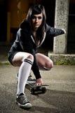 Fille de l'adolescence de beau patineur Photographie stock