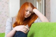 Fille de l'adolescence de tristesse Images stock