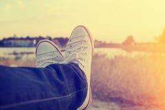 Fille de l'adolescence en vacances en été Photos libres de droits