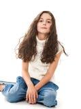 Fille de l'adolescence sur le blanc Photographie stock