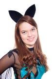 Fille de l'adolescence utilisant le costume de 'bat' de veille de la toussaint photo stock