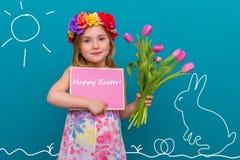 Fille de lapin de Pâques image stock