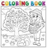 Fille de livre de coloriage avec les pommes rassemblées Photos libres de droits