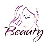 Fille de logo de beauté avec de longs cheveux illustration libre de droits