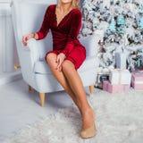 Fille de luxe près de l'arbre de Noël dans la robe rouge de velor photographie stock libre de droits
