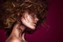 Fille de mannequin de beauté avec le maquillage lumineux Image libre de droits