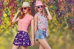 Fille de mode, équipement élégant d'été Nature extérieure Photo stock