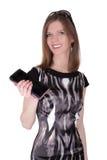Fille de mode avec le portefeuille Images libres de droits