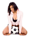 Fille de mode avec un football Photos stock