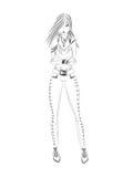 Fille de mode Croquis noir et blanc Images libres de droits