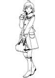 Fille de mode dans le manteau et le sac Images libres de droits