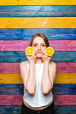 Fille de mode de fruit Photographie stock libre de droits