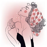 Fille de mode de vintage avec des parfums illustration libre de droits