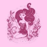 Fille de mode Le fond rose illustration libre de droits