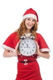 Fille de neige avec l'horloge Photographie stock libre de droits