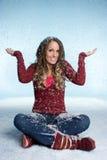 Fille de neige de l'hiver Photos libres de droits