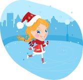 Fille de neige sur les patins dans le costume de Noël Photo libre de droits