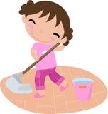 Fille de nettoyage illustration stock