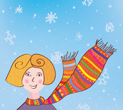 Fille de Noël à l'arrière-plan drôle d'écharpe Photos stock