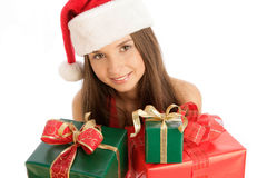Fille de Noël avec des cadeaux images libres de droits