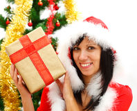 Fille de Noël avec le cadeau photographie stock libre de droits