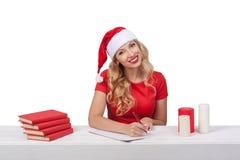 Fille de Noël avec le stylo, concept isolated03 de Noël Photographie stock libre de droits